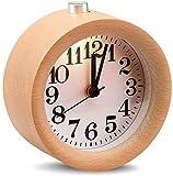 DYR Reloj Despertador de Madera con repetición de Mesa silenciosa Redonda clásica con luz Nocturna, Relojes de Mesa para decoración de Sala de Estar, Cuarzo de Madera Maciza