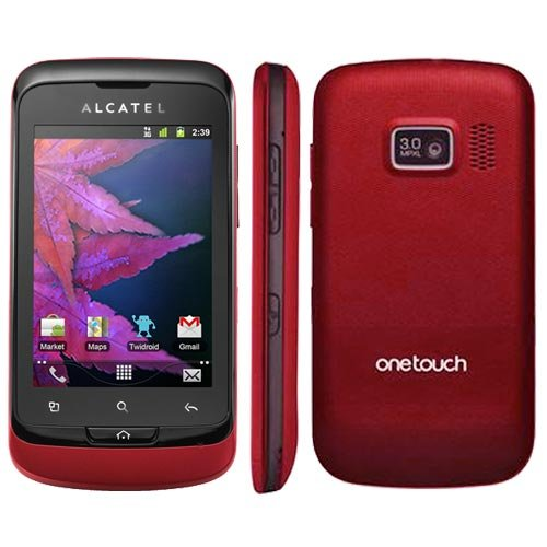 Alcatel One Touch Mix 918D Smartphone (8,1 cm (3,2 Zoll) Touchscreen, 3,2 Megapixel Kamera, Dual-SIM, Android 2.3) schwarz/rot