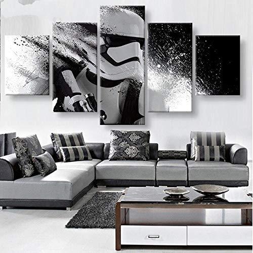 CHUADIAD Art Sailing HD Druck 5-teiliges Leinwandbild Star Wars Stormtrooper Poster Star Wars Leinwand 5-teilig rahmenlos