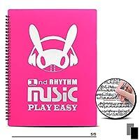 ミュージックスコアフォルダーA4サイズミュージックスコアボックス直筆デザインミュージックスタンド優れた収納容量ライティングリングフォルダー会議資料20/30ページブラック (30ページ,ピンク)