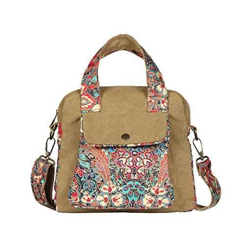 Black Butterfly Original Bohemian National Style Canvas Tote Shoulder Bag Top Handle Bag for Womens Girls, a