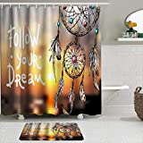 Fabric Shower Curtain and Mats Set,Feathers and Beads Native American Indian Dream Catcher Arrow,Waterproof Bath Curtains with 12 Hooks,Non Slip Rugs