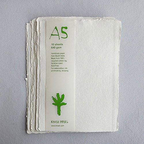 Handgemaakt gerecycled papier. A5, 640gsm, 10 vellen.