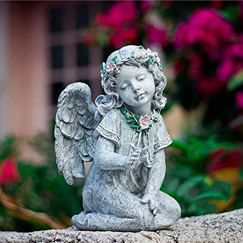 Estatuas de estatuillas de estatuillas de escultur PRG Jardín decoración imitación cemento ángel resina decoración casero balcón decoración nórdica creativa al aire libre jardín flor tienda ventana de