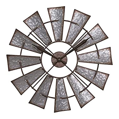 Lacrosse 404-3956 22  Metal Windmill Quartz Clock, Gray