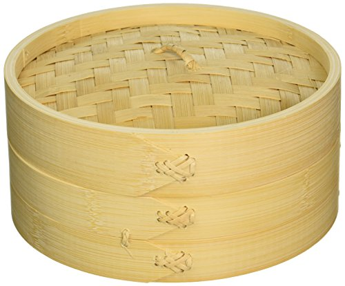 Cook Pro Asian Bamboo Steamer with Lid, 8', Wooden