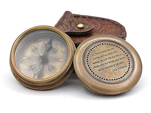 Roorkee Vintage Brass Compass with Leather Case/J.R.R. Tolkien Directional Magnetic Compass for Navigation/Tolkien Compass for Camping, Hiking, Touring/Gift for Him