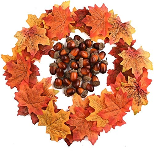 Halloween Outdoor Ornaments Scary Creepy Decorations,350 PCS Autumn Table Decorations Scatters Set, 300 Pieces Artificial Maple Leaves Fall Leaves with 50 Pieces Artificial Acorns for Autumn Fall Part