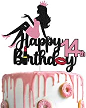 AERZETIX Makeup Cake Topper Happy 14th Birthday Girls Crown High Heel Cake Decorations Silhouette for Lady Women Makeup Spa Themed Birthday Party Decor Supplies
