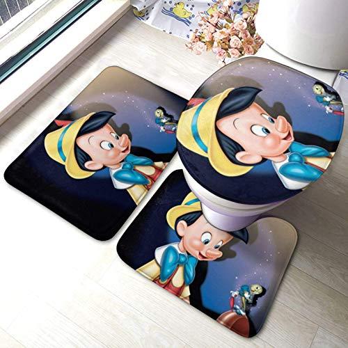 huancheng Pinocchio Badematten 3-teiliges Set Badezimmerteppich Set Antiskid Badteppichmatte U Konturpads O Toilettendeckel Teppich