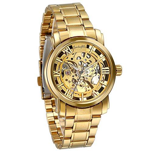 Regalo de papá Día del Padre JewelryWe Reloj Dorado de Esfera Transparente, Reloj de Caballero mecánico, Bonito diseño único, Relojes de Hombre, Regalos Dia del Padre