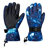 BOSONER Ski Snowboard Gloves, Waterproof Winter Warm Gloves, Cold Weather Touchscreen Snow Gloves for Mens, Womens, Kids Skiing,Snowboarding (Fluorescent Blue, M(FID Kid 10-11 Years))