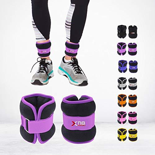 Xn8 Neopren-Gewichte für Fußgelenk, 0,5 kg - 3 kg, Paar Beine, Gewicht für Laufen, Joggen, Walking, Aerobic, Gymnastik, Fitness, Lila:, 1.5Kg Set = (1.5 * 2 = 3Kg)