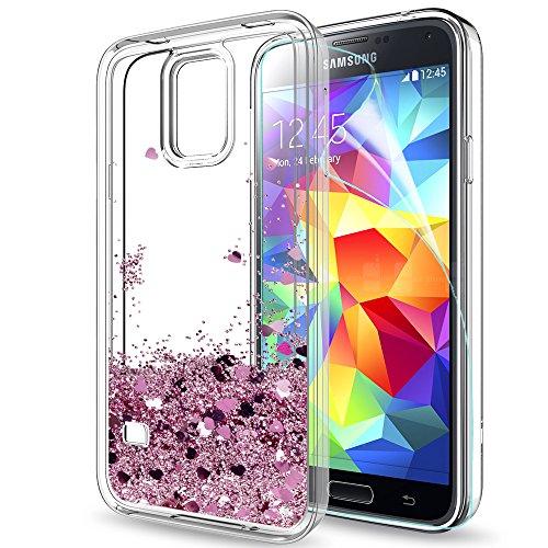 LeYi Compatible con Funda Samsung Galaxy S5 / S5 Neo Silicona Purpurina Carcasa con HD Protectores de Pantalla,Transparente Cristal Bumper Telefono Gel TPU Fundas Case Cover para Movil S5 ZX Oro Rosa