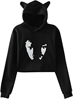Womens Cute Crop Top Sweater Cat Ear Hoodie with Hall & Oates Pattern