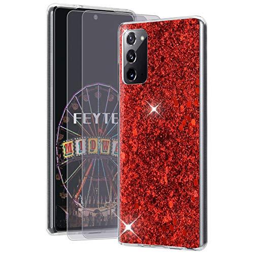 Feyten Kompatibel mit Galaxy Note 20 5G / 4G Hülle mit HD-Schutzfolie [2 Stück],Bling Glänzend Glitzer Weich TPU Silikon Etui Cover Schale Schutzhülle für Samsung Galaxy Note 20 5G / 4G (Rot)
