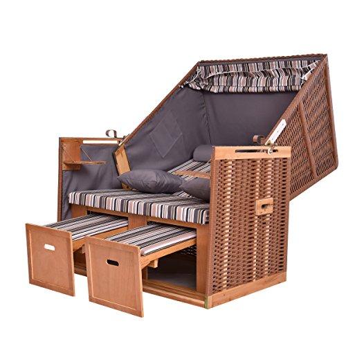 Costway Zweisitzer Strandkorb Volllieger Polyrattan Gartenliege ausziehbare Fußstütze mit 2 Rücken- und Nackenkissen