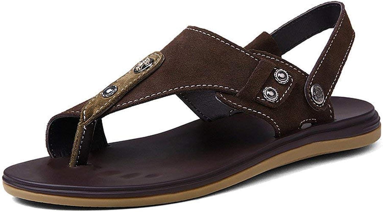 Fuxitoggo 2018 Men's Sandals Flat Heel Slip On Switch Backless Sandals (color   Brown, Size   38 EU)