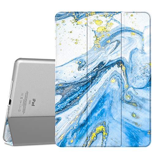 MoKo Cover compatibile con iPad Air 2, Ultra Sottile Leggero Custodia in Tri-fold Auto Sveglia Sonno con Retro Semi-trasparente Rigido compatibile con iPad Air 2 9.7  Tablet - Sabbie Mobili Blu