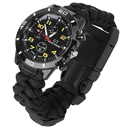 HEMOBLLO Survival Bracelet Watch Wrist Thermometer Compass Paracord Bracelet Hiking Camping Buckle Multifunctional Outdoor Survival Kits