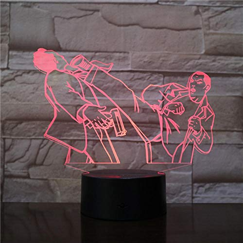 3D Illusionslampe Led Nachtlicht Kung Fu Wrestling Acryl 7 Farben Ändern Touch Touch Usb-Dekor Für Baby Schlafen