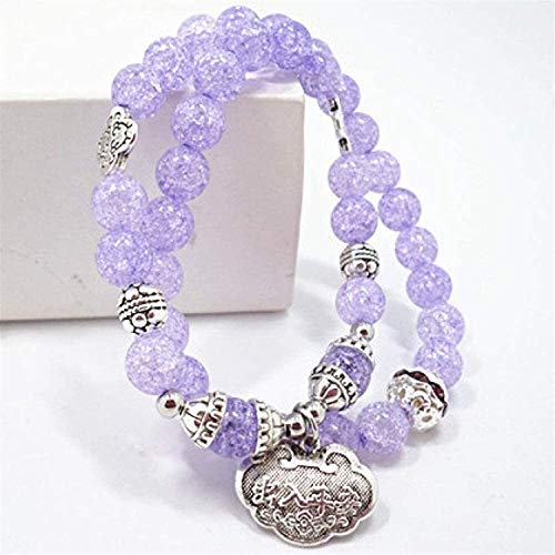 Gymqian Pulsera de Piedra Mujer, 7 Chakra Perlas de Piedra Natural Púrpura Cristal Cristal Elástico Largo Brazalete Bloqueo Colgante Joyería Yoga Energía Energía Reiki Rezar Charm R
