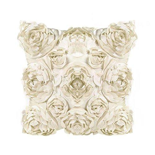 BIGBOBA Moda Blu Federa per Cuscino Tridimensionale Forma di Rosa Cuscini Divano di Lino Divano Letto Home Bed Decor 45 * 45cm (Bianco)