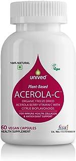 Unived Acerola-C, Whole Food Based Freeze Dried Organic Berry Vitamin C with Citrus Bioflavonoids 60 Vegan Caps