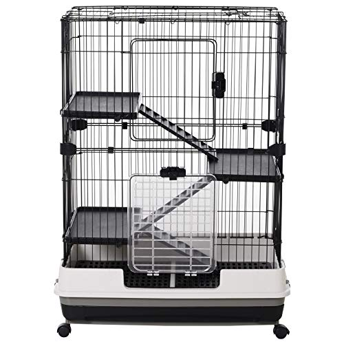 "Pawhut 32""L 4-Level Indoor Small Animal Hamster Cage with Wheels - Black"