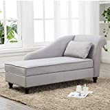 Yongqiang Storage Chaise Lounge Indoor Upholstered Sofa Recliner Lounge Chair for Living Room Bedroom Gray Velvet (Right Armrest)