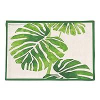 ソウル 防水茶布プレイスマット断熱PCS/LOT新鮮な緑の葉コットンリネンの肥厚 潤い (Color : E, Size : 44 × 28CM)