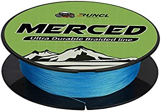RUNCL Braided Fishing Line Merced, 4 Strands Braided Line - Proprietary Weaving Tech, Thin-Coating Tech, Stronger, Smoother - Fishing Line for Freshwater Saltwater (Blue, 25LB(11.3kgs), 300yds)