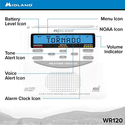 Product Image 6: Midland – WR120B/WR120EZ – NOAA Emergency Weather Alert Radio – S.A.M.E. Localized Programming, Trilingual Display, 60+ Emergency Alerts, & Alarm Clock (WR120B – Box Packaging)