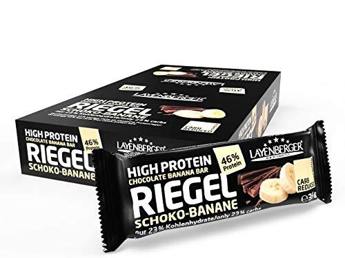 Layenberger High Protein Riegel Schoko-Banane mit viel Eiweiß und wenig Zucker (16 g Eiweiß, nur 0,3 g Zucker), 18er Pack (18 x 35 g)