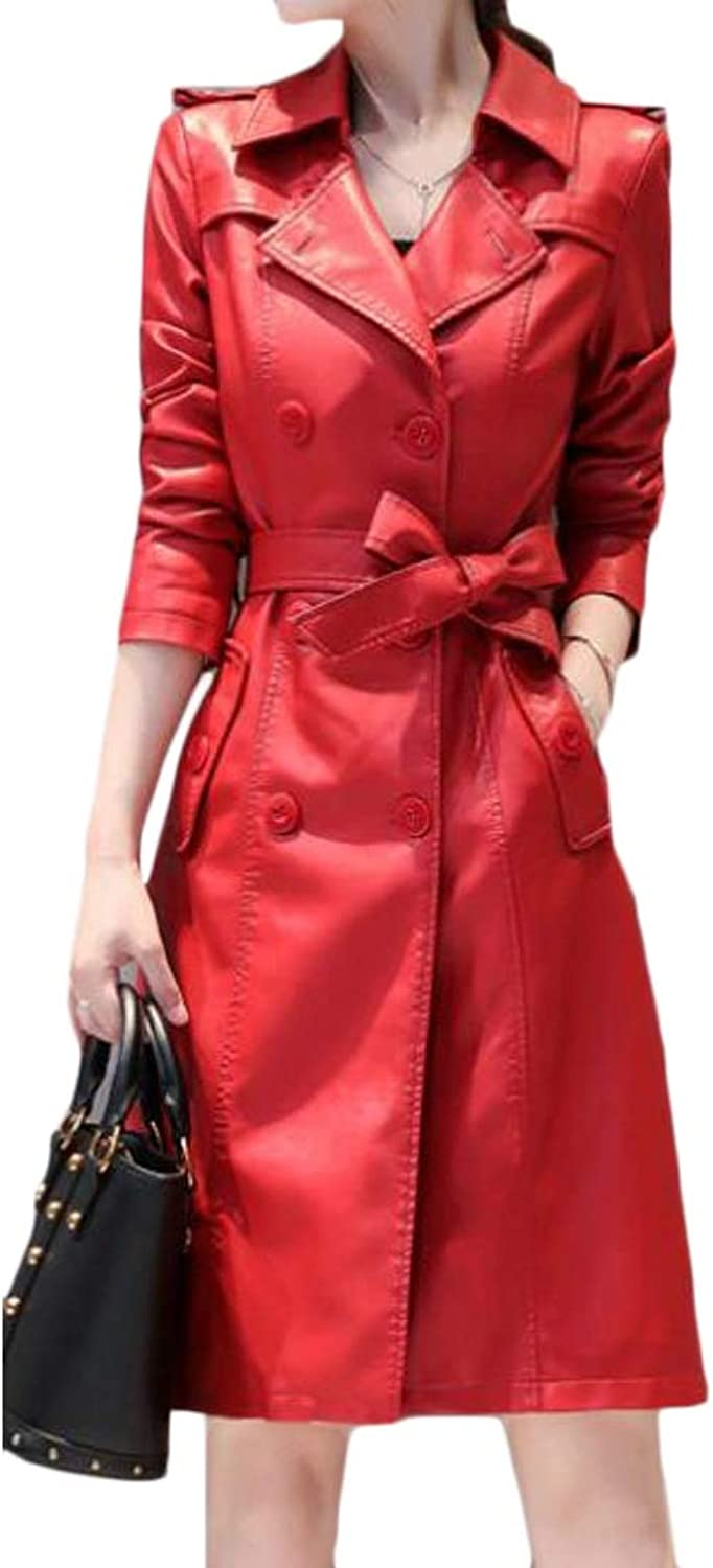 Jotebriyo Women Faux Leather Double Breasted Slim Belted Long Trench Coat Jacket Overcoat