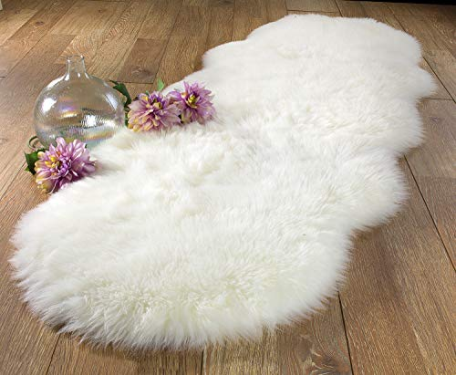 Chesserfeld Luxury Faux Fur Sheepskin Rug, White, 2ft x 6ft with Thick Pile, Machine Washable, Makes a Soft, Stylish Home Décor Accent for a Kid
