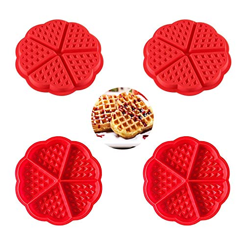 rosepartyh Silikon Waffelform Waffelbackform Waffelformen Waffeln Waffle Silikonwaffelform Silikonform Formkuchenform Backform Kuchenform Formen Herz 4 Stück
