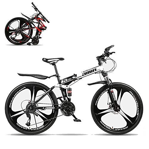 26 Pulgadas Plegable Bicicleta Montaña,24 Velocidades Hombres Portátil Bicicleta De Montaña Ligero Bike,Absorbente De Impactos Completo Freno De Disco Doble Bicicleta De Carretera-H 24 Velocidades