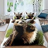 HSBZLH Juego de Fundas de Cama con Estampado de árbol trepador de Panda, Funda de edredón de Oso Panda Chino Lindo de Reina, Juegos de edredón de 3 Piezas (2 Fundas de Almohada)