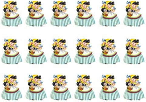 for Vintage Image Little Girl in Handkerchief and Bluebirds Waterslide Decal KID457 Tole Decals & Transfers - Image Size is E - 18 Small