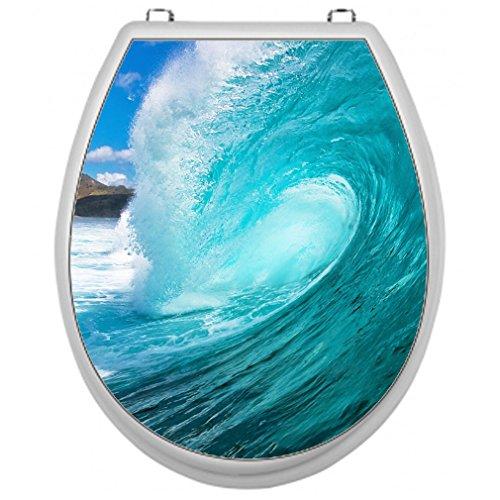 SHIRT-TO-GO Aufkleber für Toilettensitz Klodeckel Aufkleber WC Sitz - Motiv Welle
