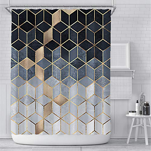 KYFY Shower Curtain Water Resistant Bath Geometric Printed Bathroom Waterproof Bathroom Curtains Bathroom Decor Set with Hooks 72x72 Inches