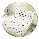 Qianqian Paper Crane Bed Sheet with Pillowcase Blue Flower Printed Bed Linen Queen Size Mattress Covers Fitted Sheet Sets,Type 2,150x200cm