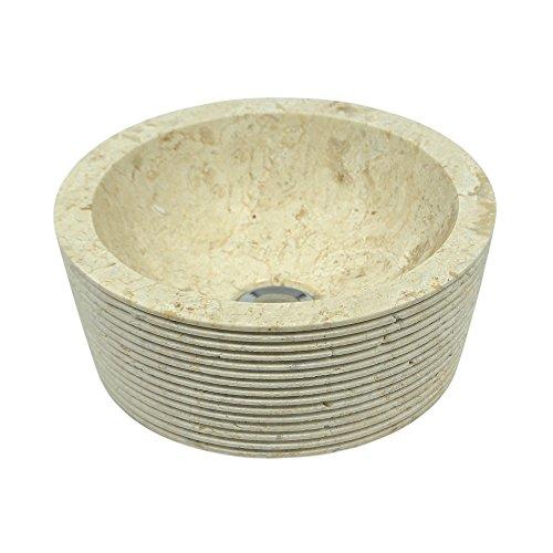 wohnfreuden Marmor Waschbecken MINIJAYA 30 cm Creme ✓ Naturstein Waschschale Handwaschbecken rund gehämmert für Bad Gäste WC ✓ inkl. techn. Zeichnung ✓ schnell