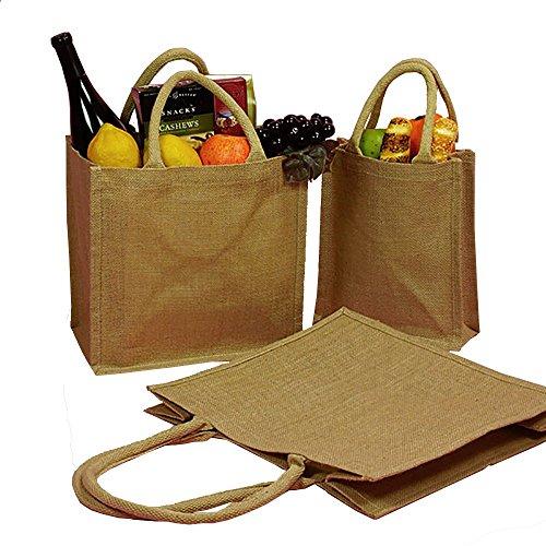 (Pack of 12) Jute/Burlap Tote Bags Soft Cotton Handles Laminated Interior (Small, Natural)