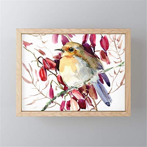 mlpnko Pájaro en Rama DIY Pintura por números, DIY Pintura al óleo Digital sobre Lienzo regalo30x40cm Marco DE Bricolaje