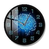 AnnQing Código Binario Inteligencia artística Cerebro Reloj de Pared Movimiento silencioso Reloj de Pared Empresa Decoración de Oficina Cerebro Placa de Circuito Arte para Frikis-Metal Frame