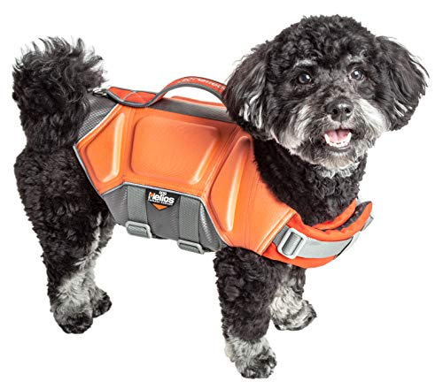 Dog Helios 'Tidal Guard' Multi-Point Strategically-Stitched Reflective Pet Dog Life Jacket Vest, Medium, Orange