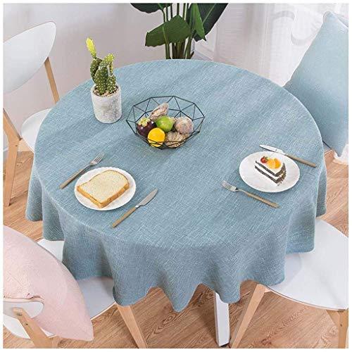 XHNXHN Manteles redondos para mesa circular, a prueba de polvo, algodón, lino, para mesa de buffet, fiestas, cena de día festivo (azul, 160 cm redonda)