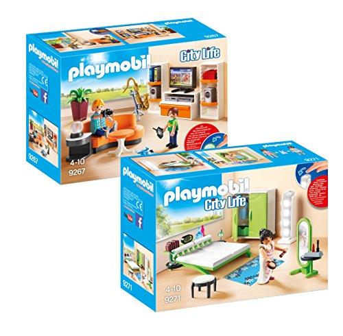 PLAYMOBIL Modernes Wohnhaus Möbelset: 9267 Wohnzimmer + 9271 Schlafzimmer